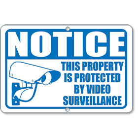 Blue Video Surveillance Notice Sign