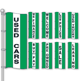 Bright Green, White & Green Drape Flags