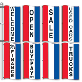 Red, White & Blue Small Vertical Stripe Drape Message Flags