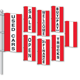 Red and White Small Vertical Stripe Drape Message Flags