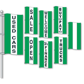 Green and White Small Vertical Stripe Drape Message Flags