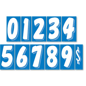 White and Blue 7 1/2 inch Peel & Stick Windshield Numbers Kit
