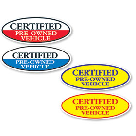 Certified Pre-Owned Vehicle Oval Stickers