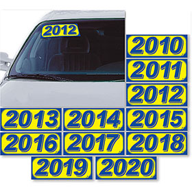 Bright Car Model Year Stickers - Blue & Yellow