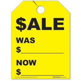 Fluorescent Yellow Sale/Was/Now Rear View Mirror Tags