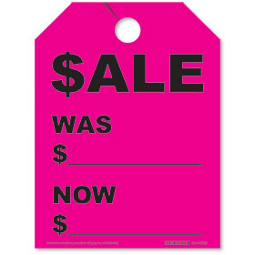 Fluorescent Pink Sale/Was/Now Rear View Mirror Tags