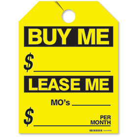 Yellow Buy Me/Lease Me Fluorescent Rear View Mirror Tags