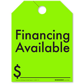 Financing Available Mirror Hang Tags - Fluorescent Green