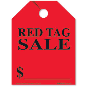 Red Tag Sale Bright Rear View Mirror Tags