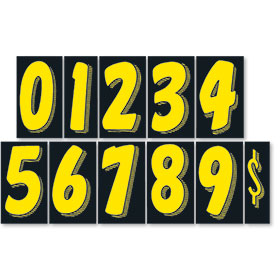 Black and Yellow 7 1/2 inch Pricing Numbers