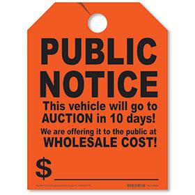Public Notice Auction Fluorescent Rear View Mirror Tags