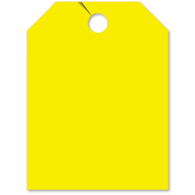 Blank Yellow Fluorescent Rear View Mirror Tags