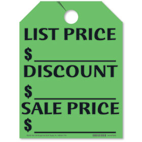 List-Discount-Sale Price Mirror Tags - Fluorescent Green