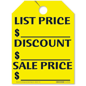 List-Discount-Sale Price Mirror Tags - Fluorescent Yellow