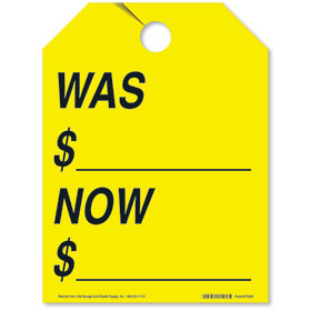 Was/Now Rear View Mirror Tags - Fluorescent Yellow