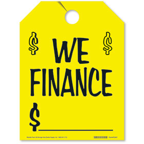 We Finance Rear View Mirror Tags - Fluorescent Yellow