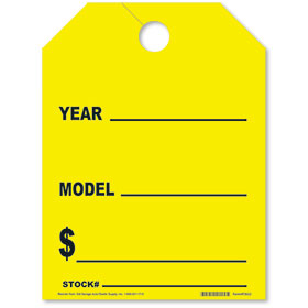 Yellow Year-Model Fluorescent Rear View Mirror Tags