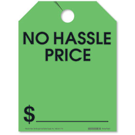 No Hassle Price Rear View Mirror Tags - Fluorescent Green
