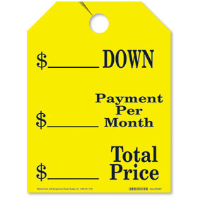 Yellow Down-Payment Per Month-Total Price Fluorescent Rear View Mirror Tags