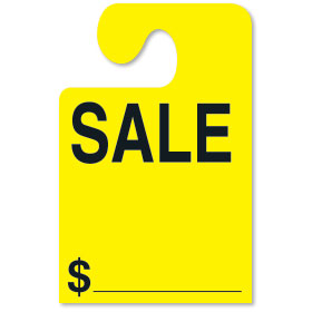 Fluorescent Yellow SALE Hook Rear View Mirror Tags