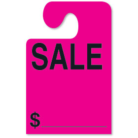 Fluorescent Pink SALE Hook Rear View Mirror Tags