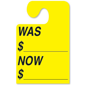 Fluorescent Yellow WAS-NOW Hook Rear View Mirror Tags