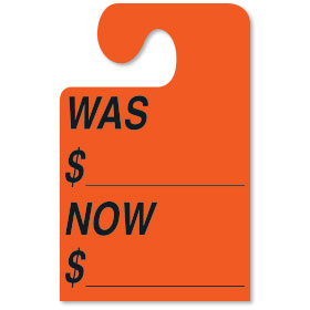 WAS-NOW Mirror Tags with Hook - Fluorescent Red