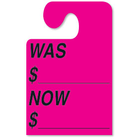Fluorescent Pink WAS-NOW Hook Rear View Mirror Tags