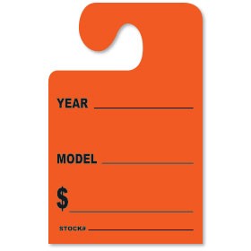 Fluorescent Red YEAR-MODEL-$ Hook Rear View Mirror Tags
