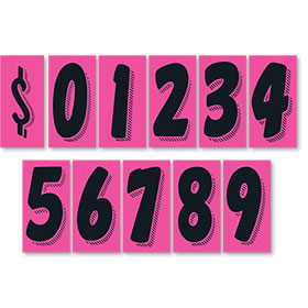 "7.5"" Peel & Stick Windshield Pricing Numbers - Hot Pink & Black"