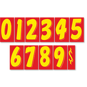 "7.5"" Peel & Stick Windshield Pricing Numbers - Red & Yellow"