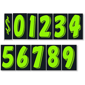 Chartreuse and Black 11 1/2 inch Pricing Number Kit