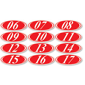 Red Oval 2-Digit Stickers