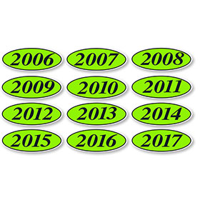 Black and Chartreuse Oval Year Stickers