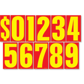 Red and Yellow 9 1/2 inch Pricing Number Kit
