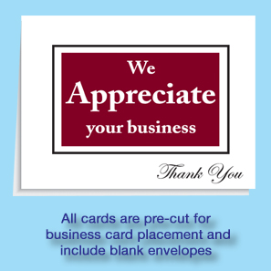 Dealer thank you cards dealership referral card thank for We appreciate your business cards
