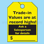 Trade-in Values Fluorescent Rear View Mirror Tags