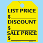 Yellow List-Discount-Sale Fluorescent Rear View Mirror Tags