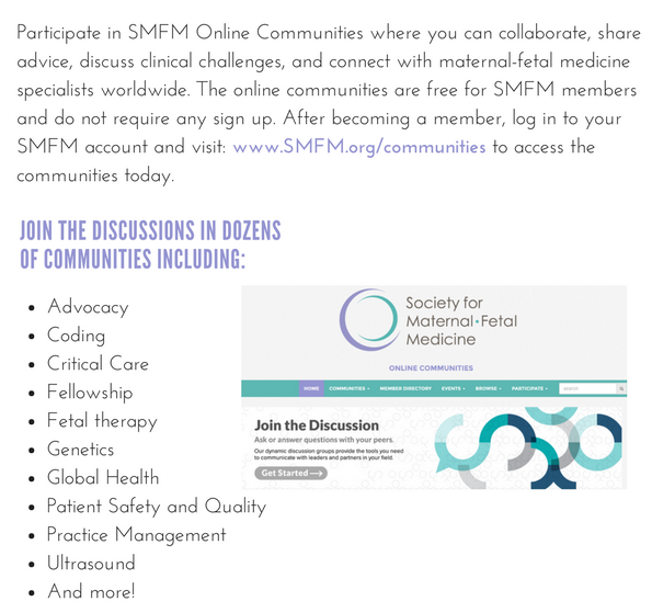 onlinecommunities | SMFM org - The Society for Maternal