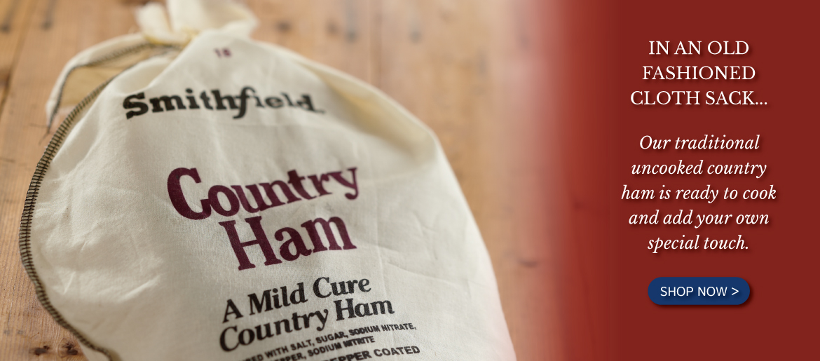 Country ham in a cloth sack
