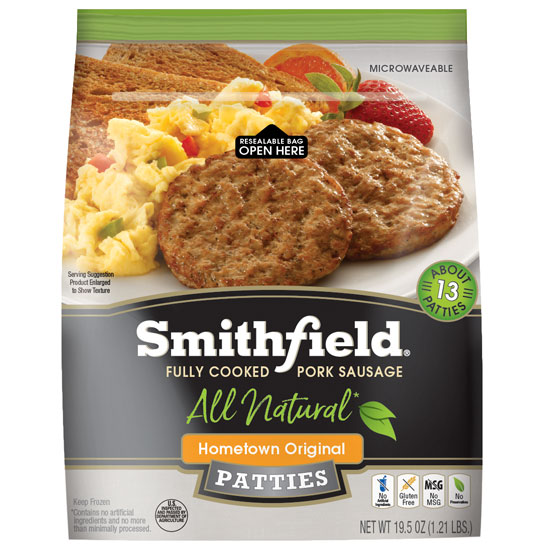Smithfield All Natural Pork Sausage Patties - Three 19.5 oz. Packs