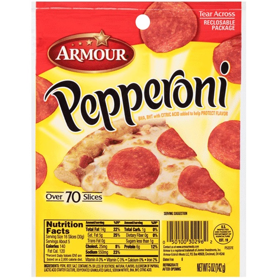 Armour Pepperoni Slices - Six 5 oz. Packs