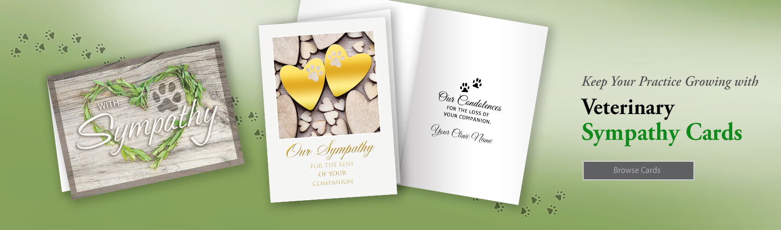 Veterinary Pet Sympathy Cards let clients know your care!