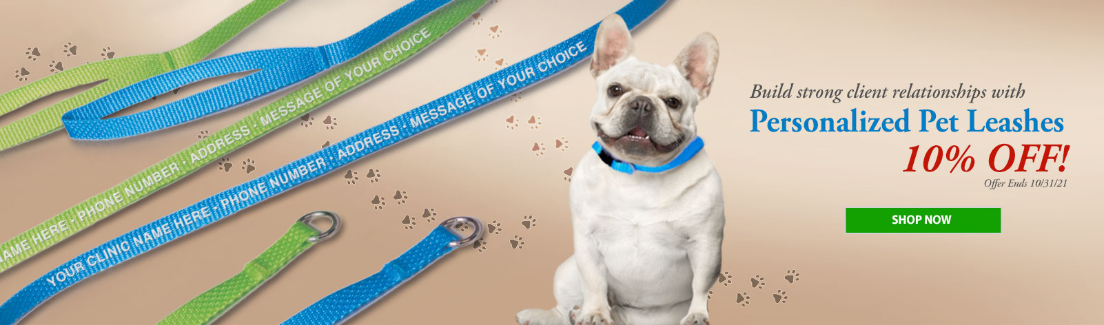 10% Off Personalized Pet Leashes!