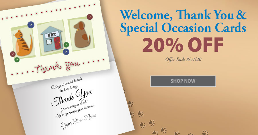 20% Off All Thank You and Welcome Cards!