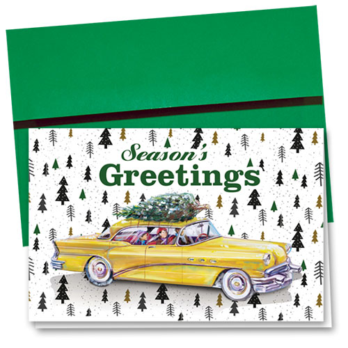 Personalized Deluxe Full Color Holiday Card - Tree Wrapping