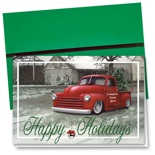 Double Personalized Full-Color Automotive Holiday Cards - Classic Pickup