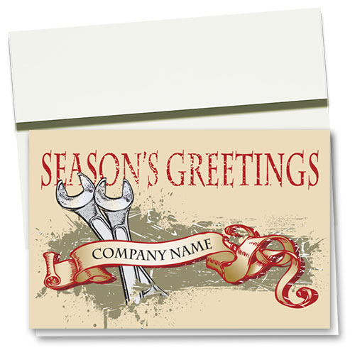 Double Personalized Full-Color Automotive Holiday Cards - Seasoned Greetings