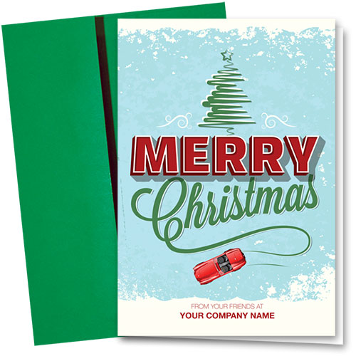 Double Personalized Full-Color Automotive Holiday Cards - Speedy Salutation