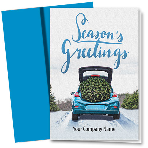Double Personalized Full Color Holiday Card- Tree Tradition